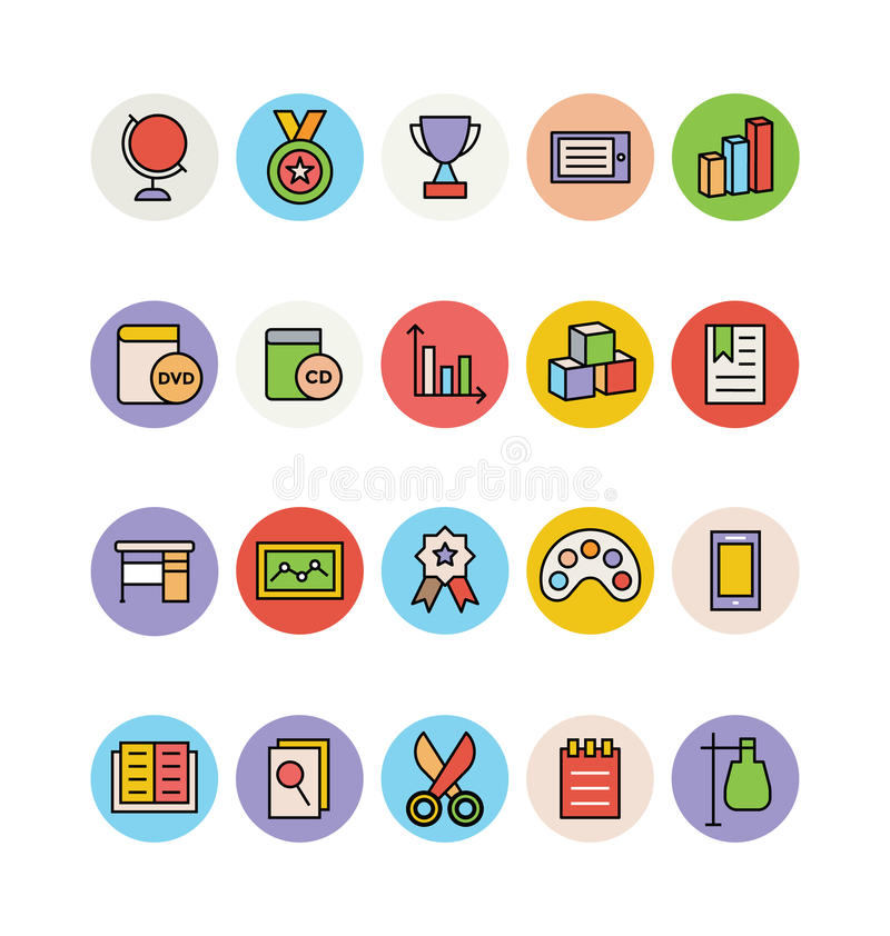 Education Colored Vector Icons 13 stock illustration