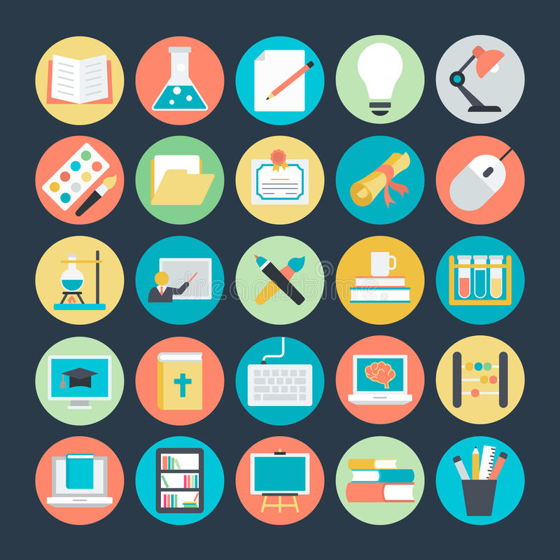 Education Colored Vector Icons 1 stock illustration