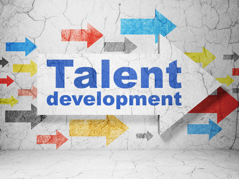 Education concept: arrow with Talent Development on grunge wall background stock illustration