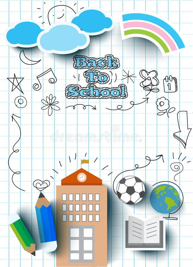 Education concept, back to school banner,flat icon style vector illustration