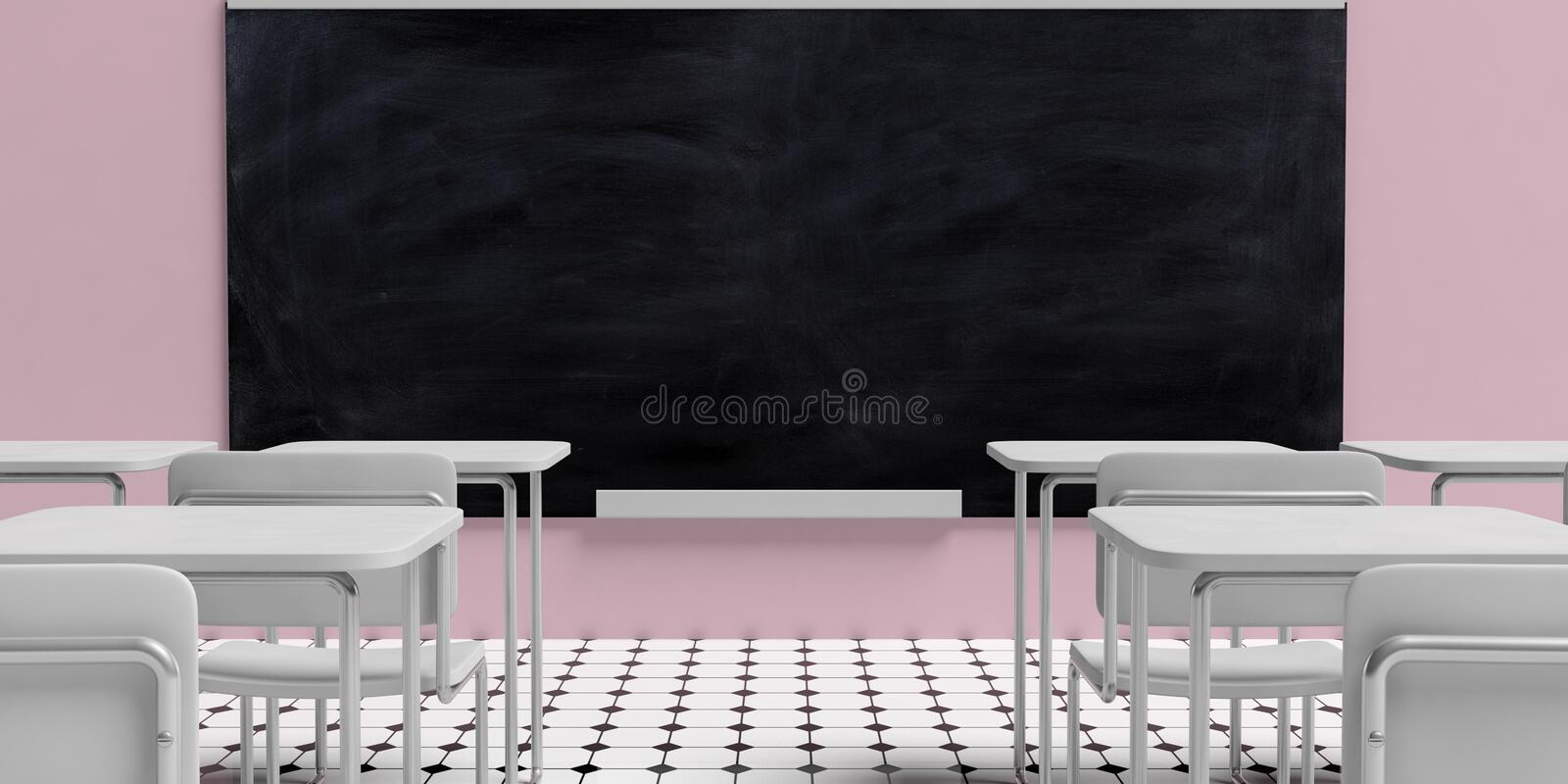 Education concept. Blackboard in empty classroom with white desks, against pink wall background and black and white octagon tiles royalty free illustration