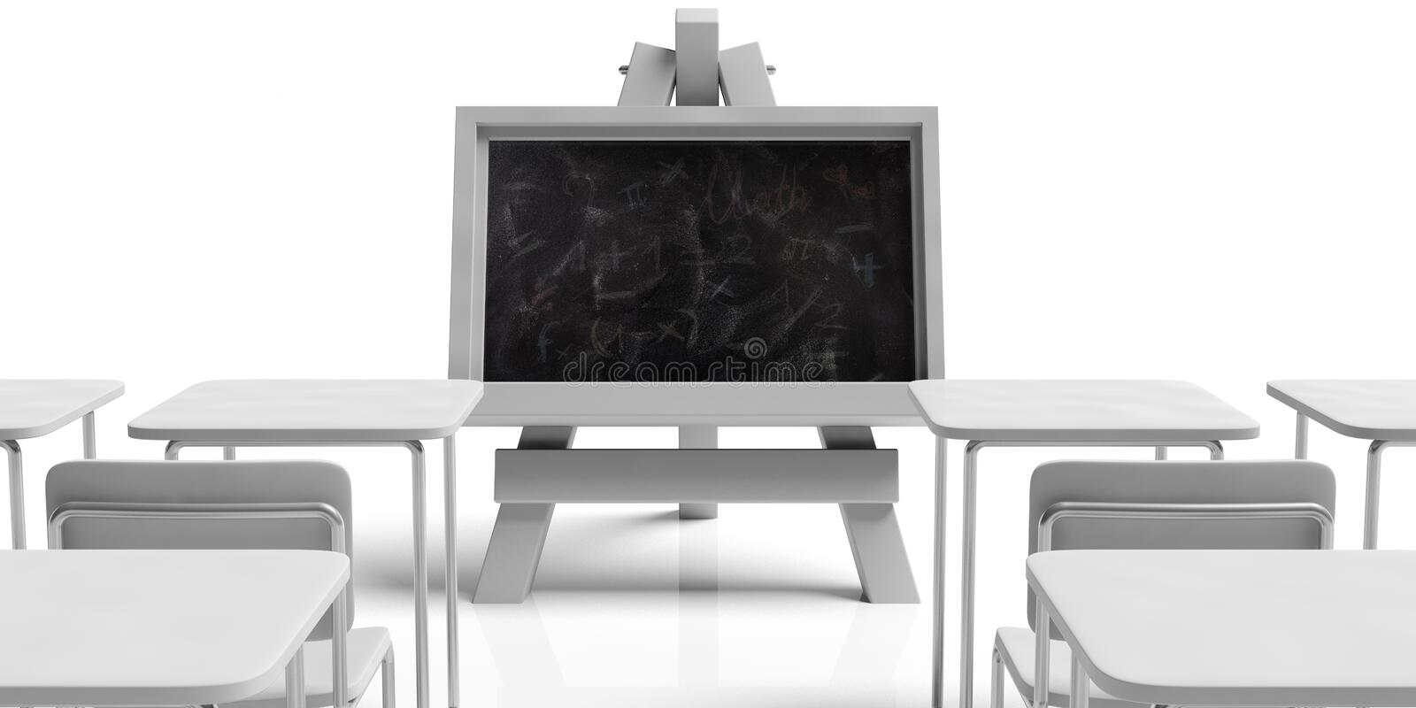 Education concept. Blackboard on folding wooden easel, in empty classroom with school desks, against white background, 3d vector illustration
