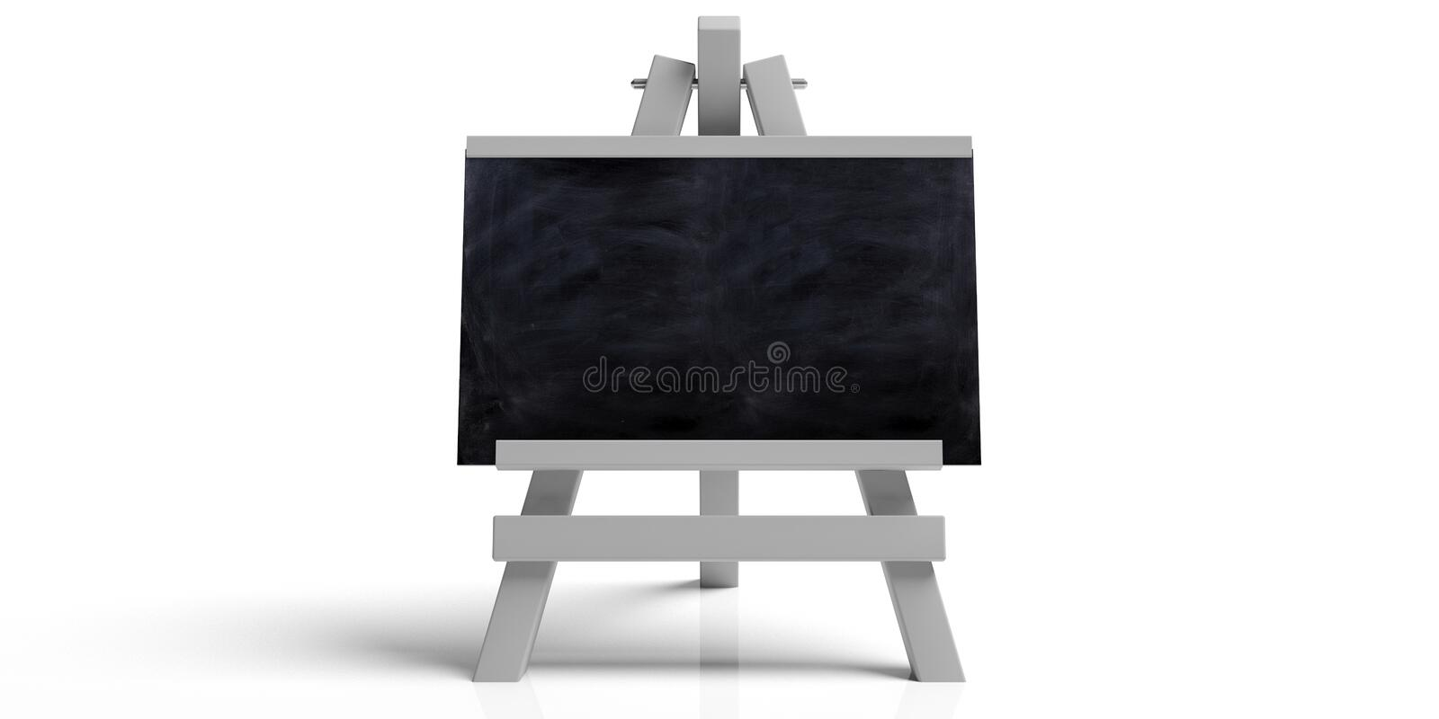 Education concept. Blackboard on white folding wooden easel, isolated against white background with copy space. 3d illustration vector illustration