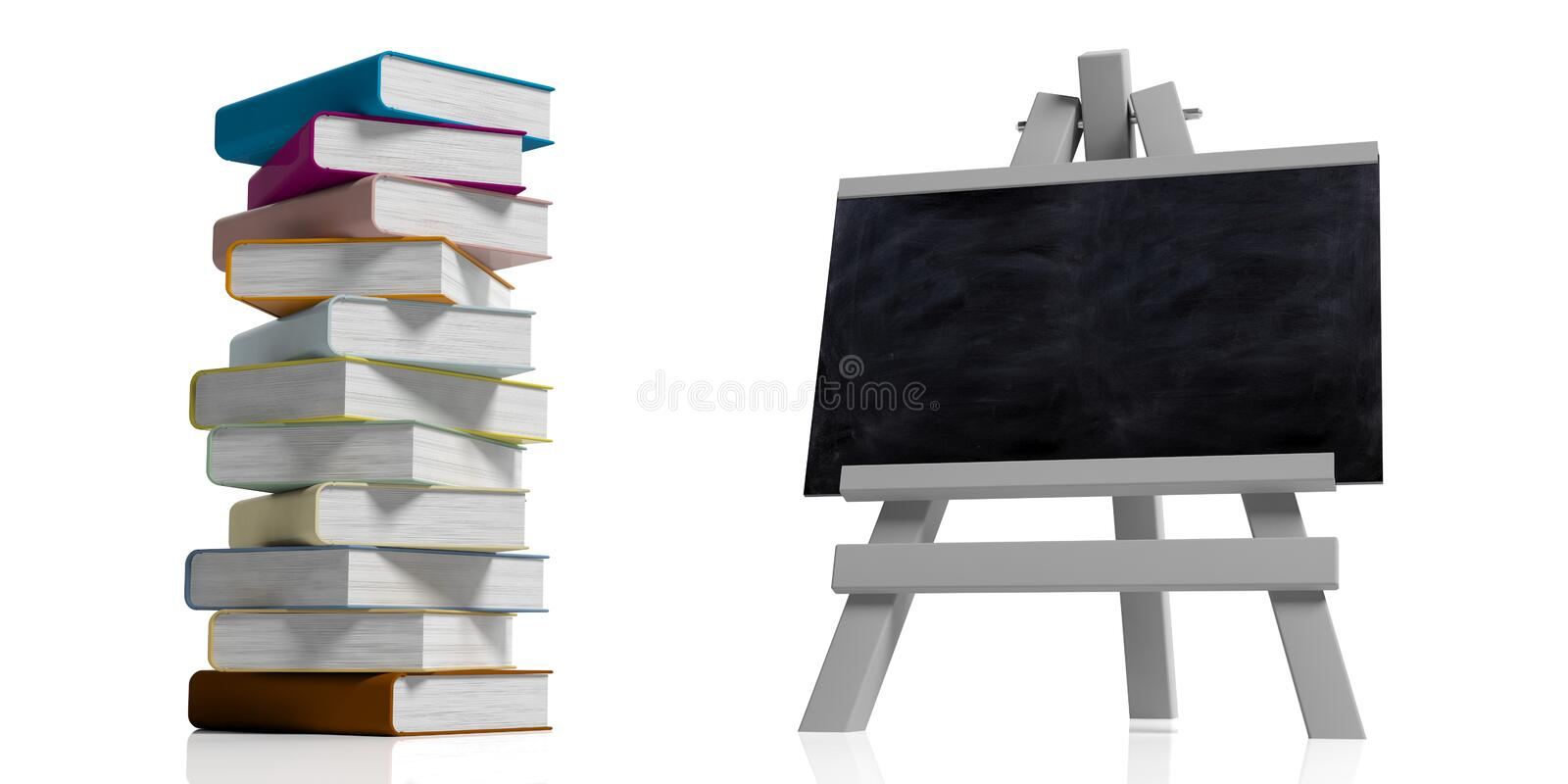 Education concept. Blackboard on wooden folding easel, isolated against white background and a pile of colorful books, 3d stock illustration