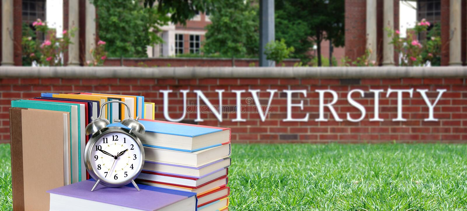 Education concept with book. In the front of university stock images