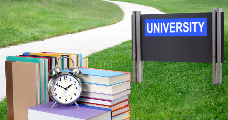 Education concept. Concept of education: book in front of university royalty free stock image
