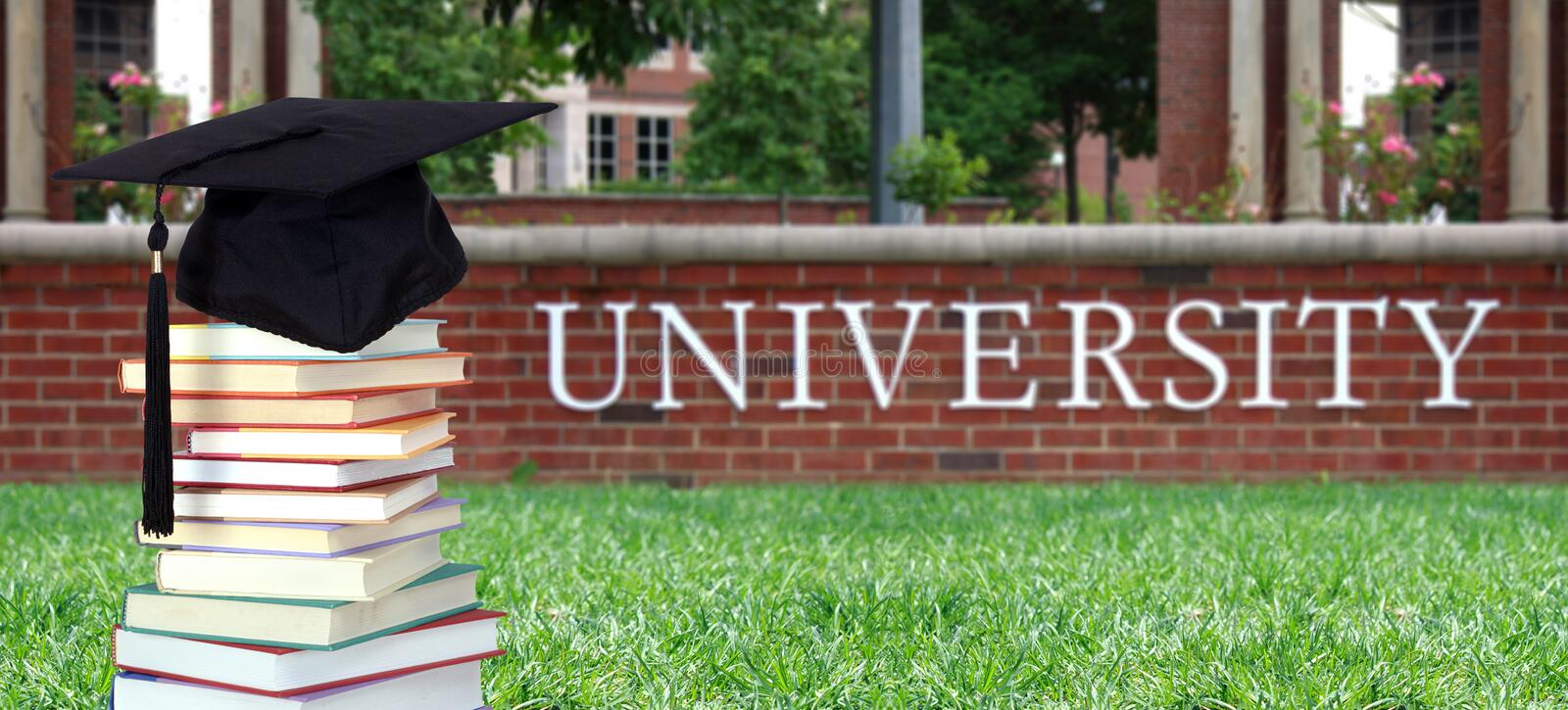 Education concept with book. In the front of university royalty free stock photos