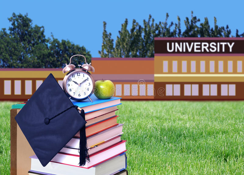 Education concept. With book and university campus stock image