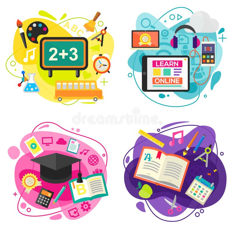 Education and Online Learning Concept Banners. Vector Illustration royalty free illustration