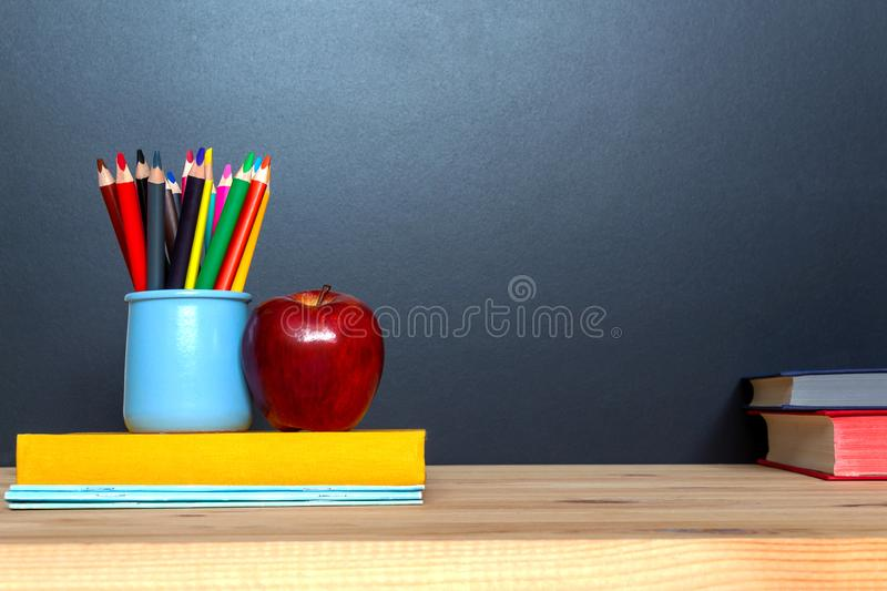 Education concept. Colorful pensils on blackboard background. royalty free stock photo