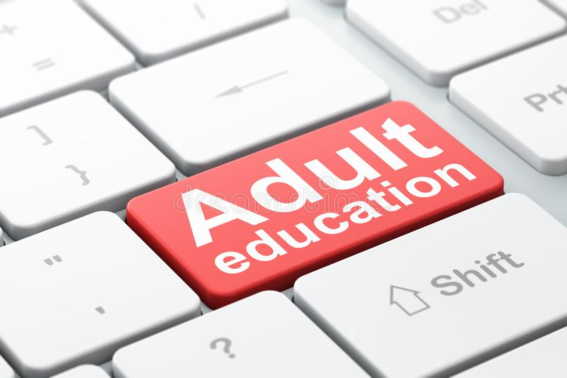 Education concept: Adult Education on computer keyboard background stock photography
