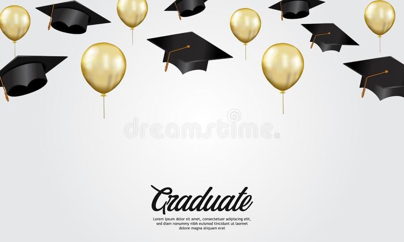Education concept graduation party banner with illustration of cap and golden helium balloon stock illustration