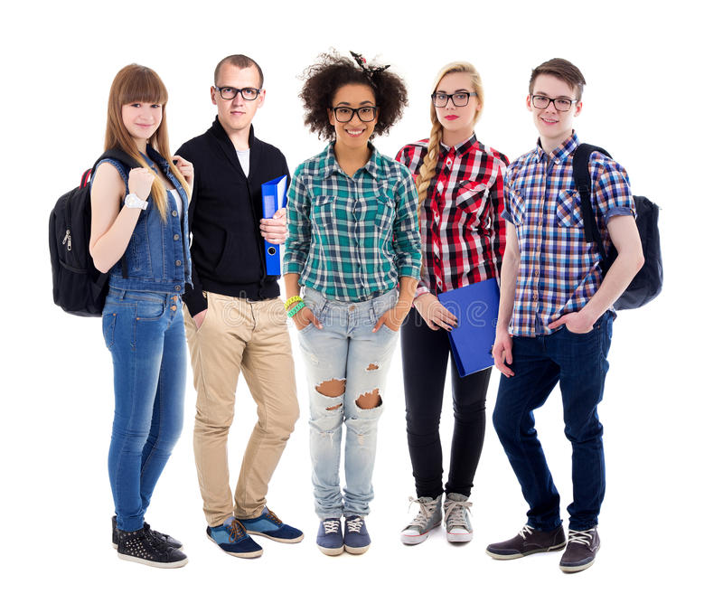 education concept - group of teenagers or students standing isolated on white stock images