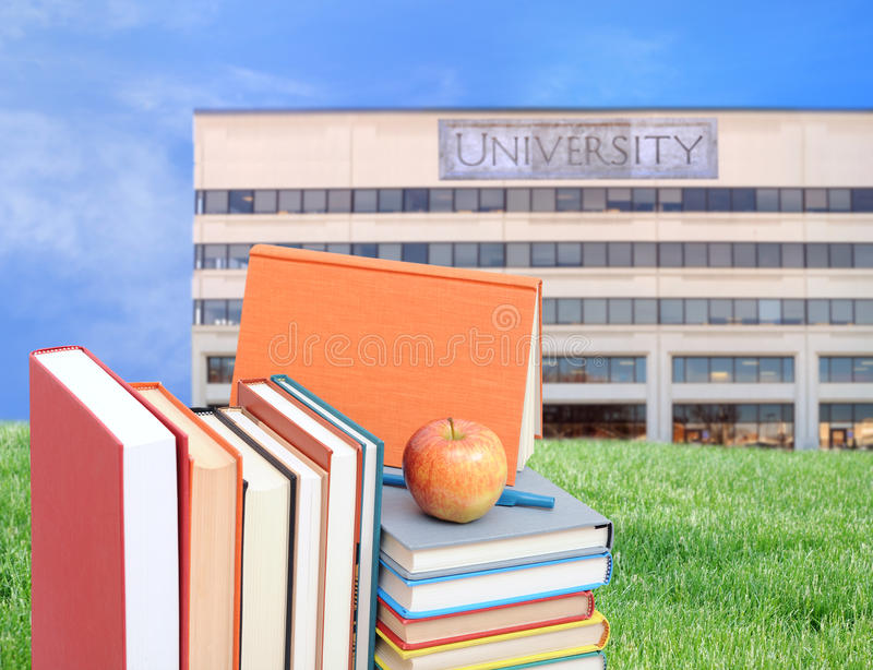 Education concept. Concept of higher education: book, campus, university royalty free stock images
