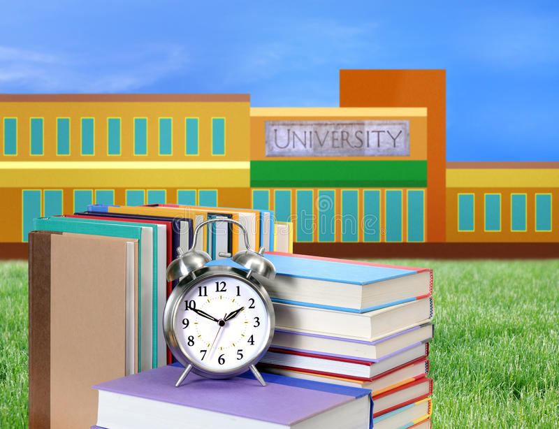 Education concept. Concept of higher education: book, campus, university stock photography