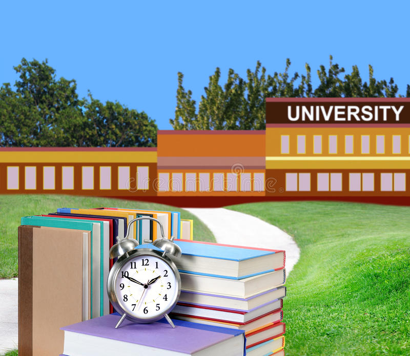 Education concept. Concept of higher education: book in front of university stock photo