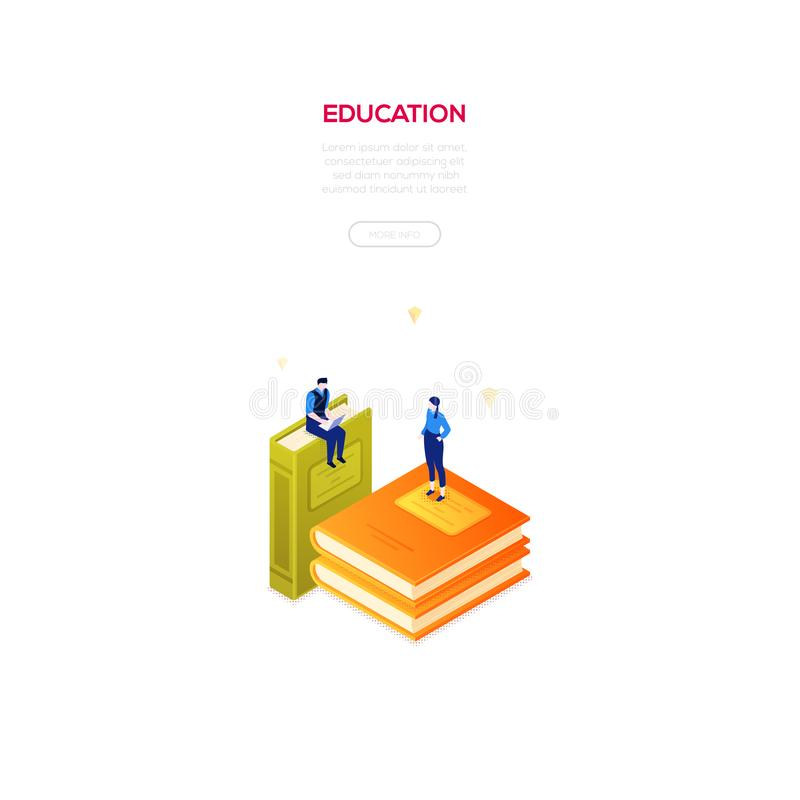 Education concept - modern isometric vector web banner vector illustration