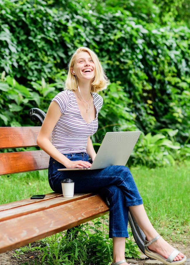 Education concept. Notebook internet remote job. Work in park. Reasons why you should take your work outside. Power of stock photography