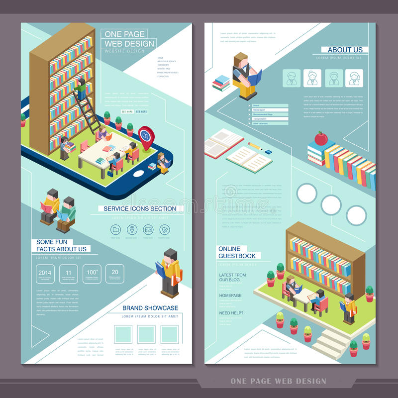 Education concept one page website template design stock illustration