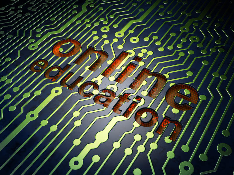 Education Concept: Online Education On Circuit Board Background ...