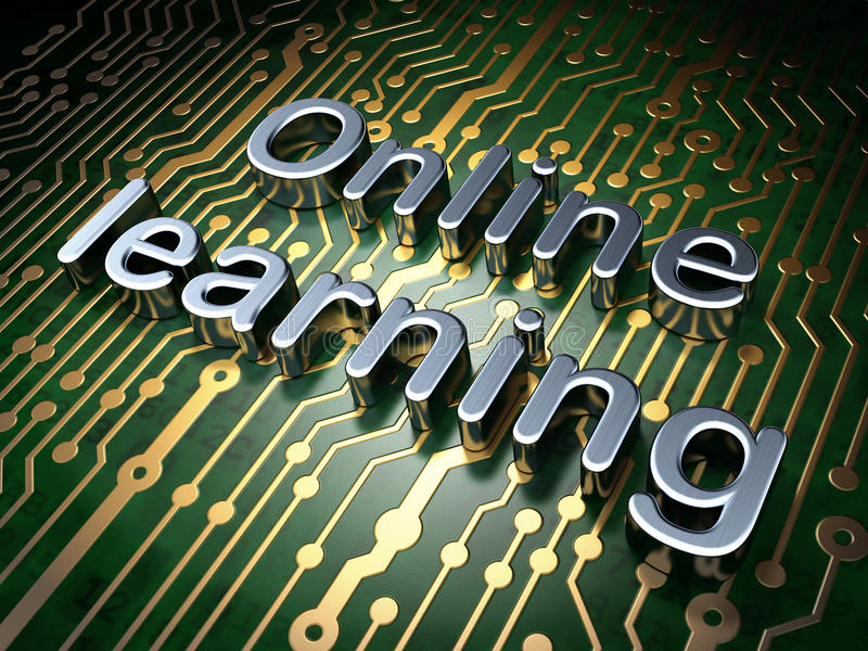 Education Concept: Online Learning On Circuit Board Background Stock ...