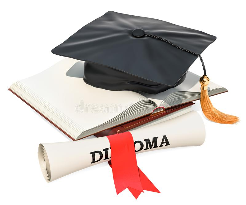 Education concept. Opened blank book with graduation cap and dip stock illustration