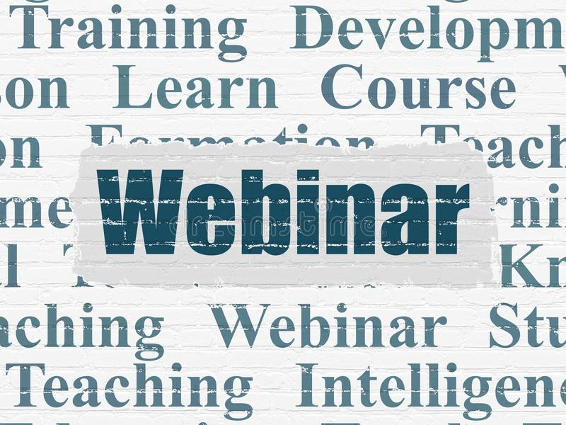 Education concept: Webinar on wall background stock photo