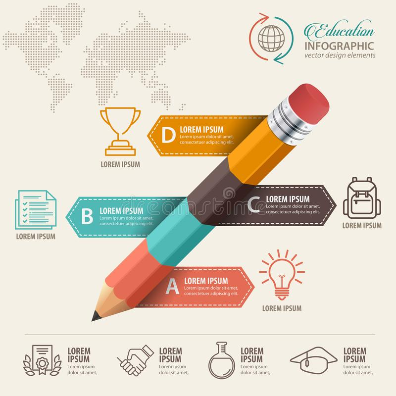 Education infographic concept. Pencil and bubble speech with icons. royalty free illustration