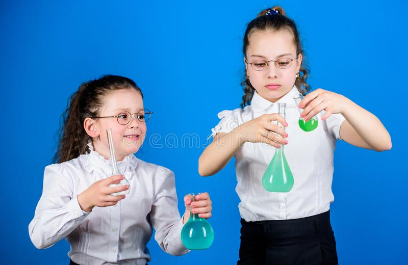 Education concept. Safety measures. Small kid study. Chemistry lesson. Having fun with chemistry. Educative experiment. Chemistry fun. Knowledge day stock image