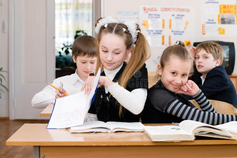Education concept - School Students at the class royalty free stock photo