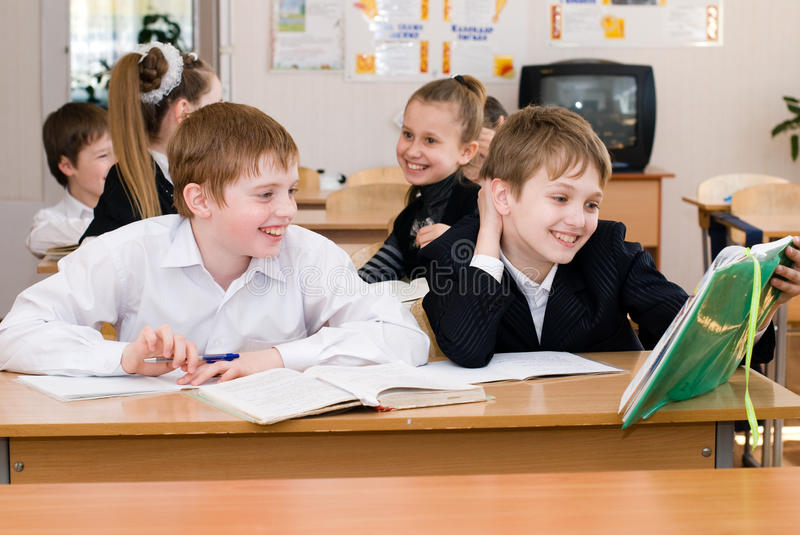 Education concept - School Students at the class royalty free stock image