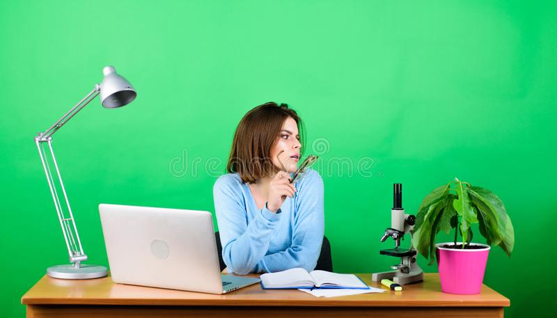 Education concept. Student life. High school education. Start career of teacher. Online remote classes. Developing new. Project. Girl pretty attractive student royalty free stock photos