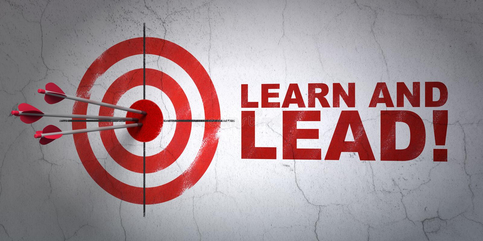 Education concept: target and Learn and Lead! on wall background royalty free stock image