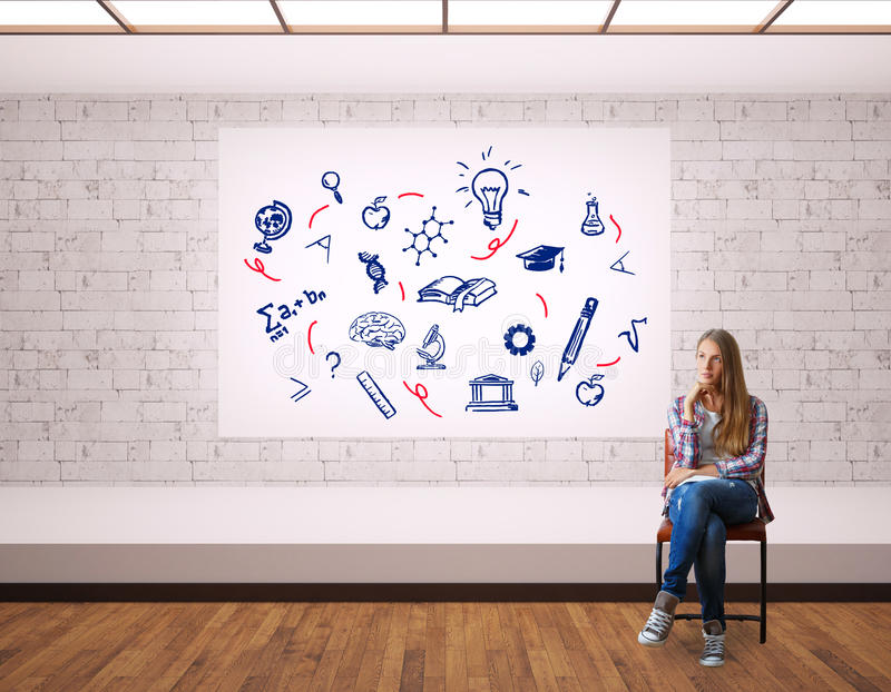 Education concept. Thoughtful young woman sitting on chair in modern interior with scientific sketches on whiteboard. Education concept stock illustration
