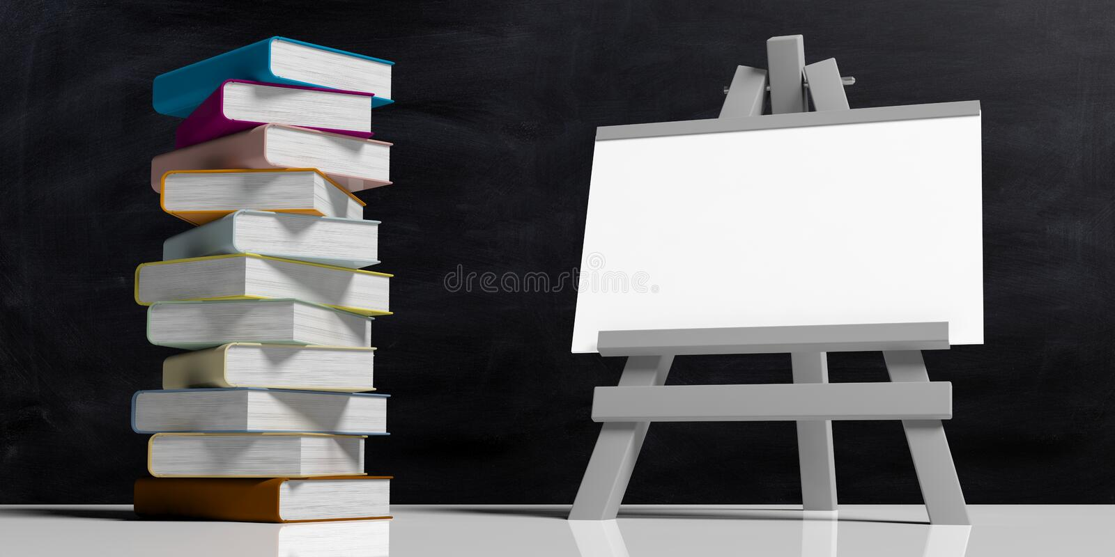 Education concept. Whiteboard on folding wooden easel, isolated against black background and a pile of colorful books, 3d stock illustration