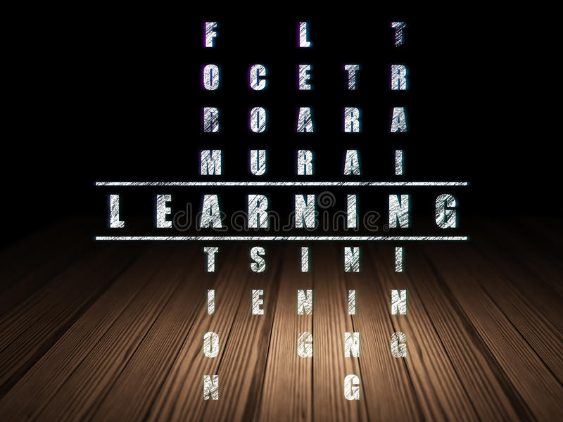 Education concept: word Learning in solving. Education concept: Glowing word Learning in solving Crossword Puzzle in grunge dark room with Wooden Floor, black stock photo