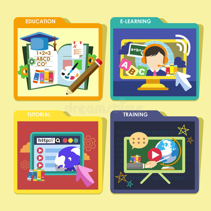 Education concepts icons set in flat design stock illustration