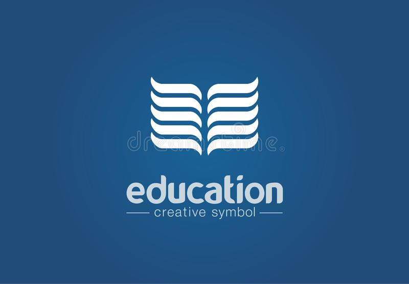 Education creative symbol concept. Book reading, back to school, knowledge, ebook store abstract business logo. Learning stock illustration