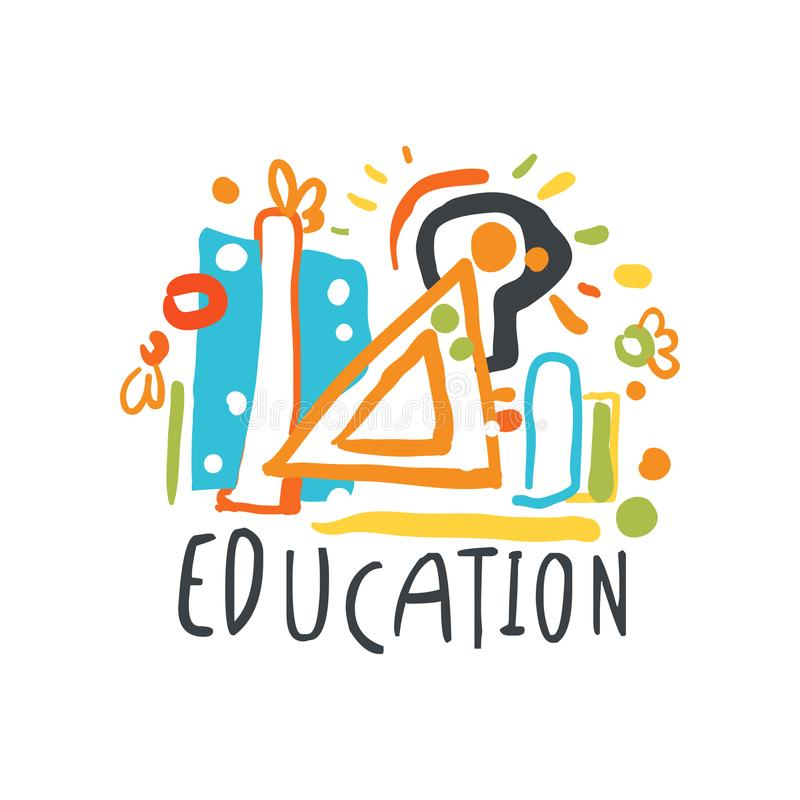 Education day label concept with educational supplies stock illustration