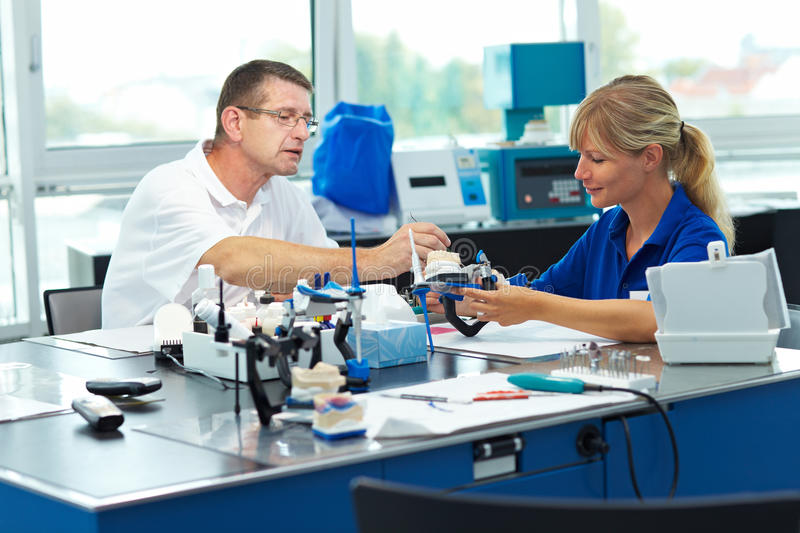 Education for dental technicians stock photography
