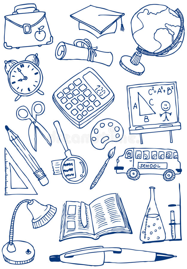 Download Education doodles stock vector. Image of paintbrush, book - 12522523