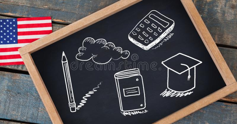 education drawings on blackboard for school with American flag royalty free stock photo