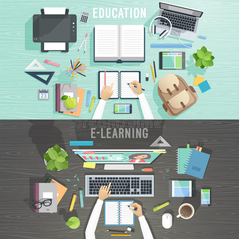 Education and e-learning concepts. royalty free illustration