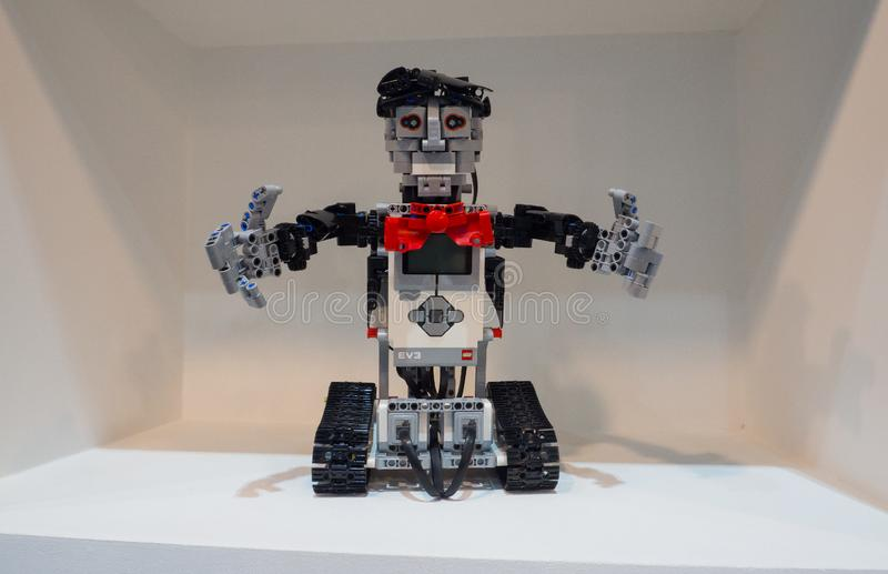 The education edition of Lego Mindstorms EV3 is the third generation robotics kit in Lego`s Mindstorms line. NONTHABURI, THAILAND – On September 22, 2018 royalty free stock images