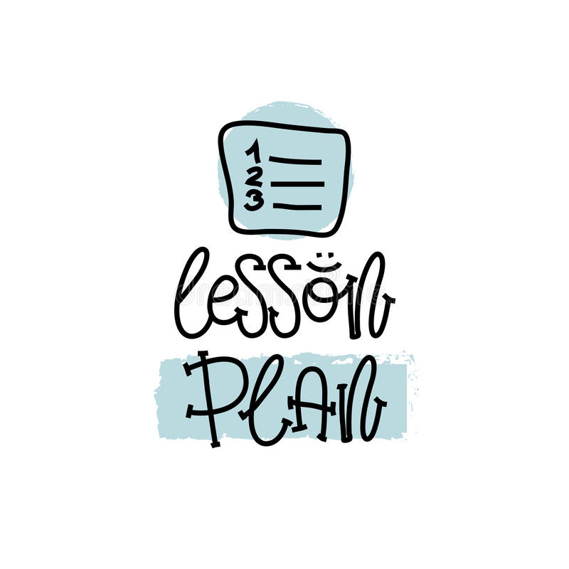 Education and Evaluation Concept. Hand writing logo lessons plan on white paper. View from above. Vector royalty free illustration