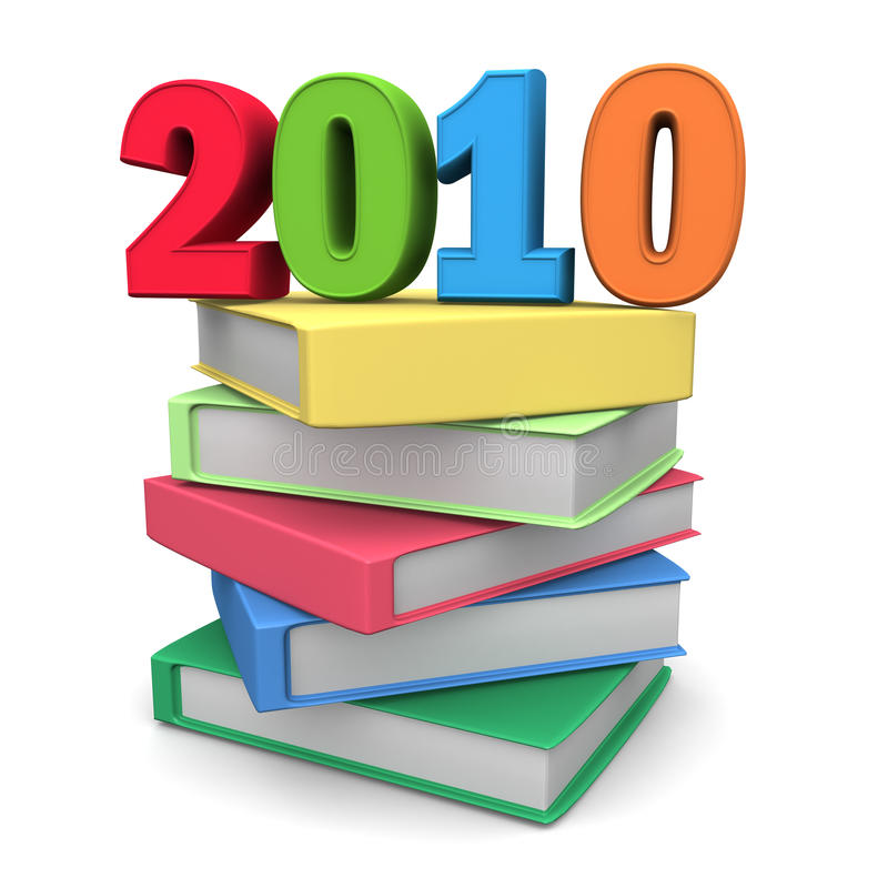Education fair concept for year 2010. Year 2010 on top of colorful books 3d illustration stock illustration