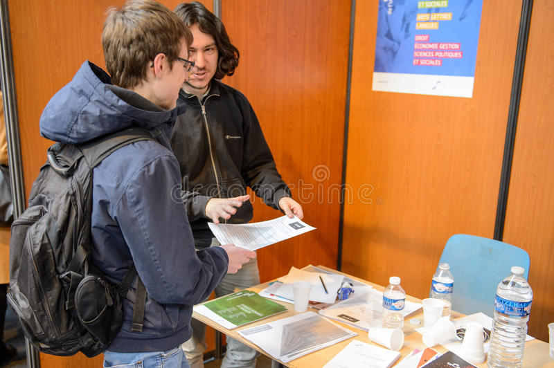 Education Fair to choose career path and vocational counseling stock images