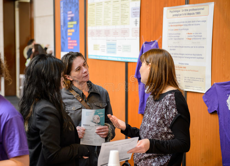 Education Fair to choose career path and vocational counseling stock photo