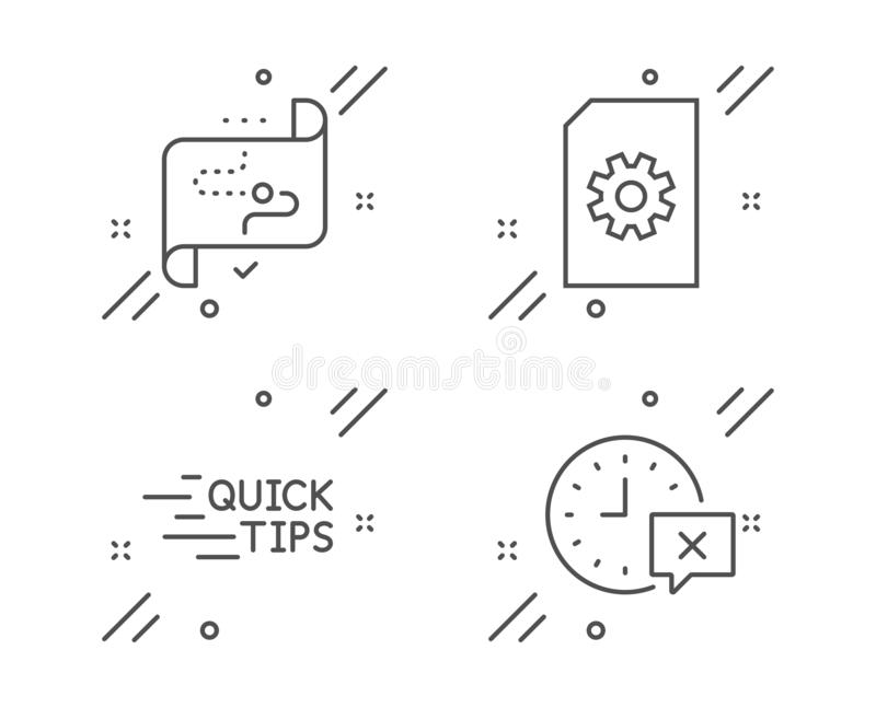 Education, File management and Target path icons set. Time sign. Quick tips, Doc with cogwheel, Business aim. Vector vector illustration