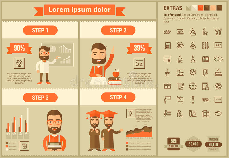 Education flat design Infographic Template. Education infographic template and elements. The template includes illustrations of hipster men and huge awesome set vector illustration